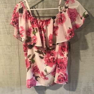 INC medium floral sheer off-shoulder top